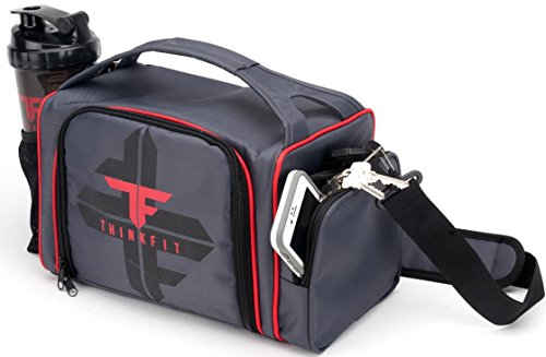 ThinkFit Insulated Lunch Boxes With 6 Portion Control Containers Pill Box Reusable Ice Pack Shaker Cup Shoulder Strap And Extra Storage Pocket Red